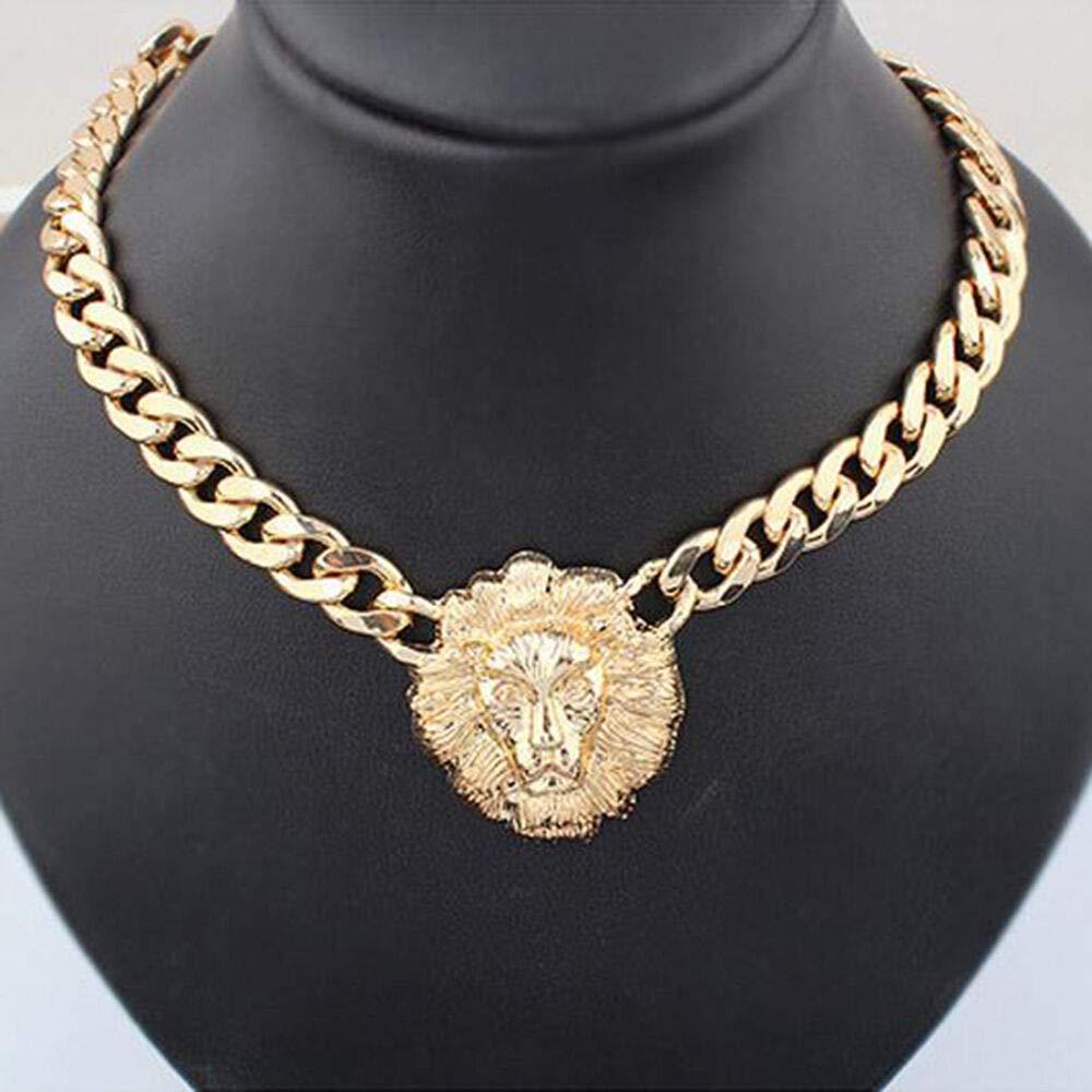 Amazon Com Fashion Lion Head Pendant Gold Flat Chain Statement Choker Chunky Necklace Bright Cute Cheap Jewerly Women Fashionable Womens Beads Accessory Best Comfy Beauty