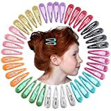 "QtGirl Snap Hair Clips 40pcs 2"" No Slip Glitter Hair Clip Metal Hair Barrettes for Baby Girls Toddlers"