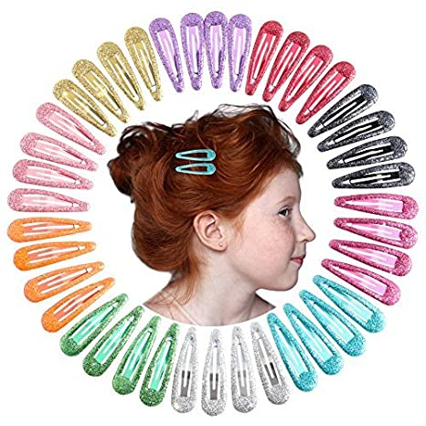 QtGirl Snap Hair Clips 48pcs 2.4 No Slip Metal Hair Clip Barrettes Hairpins for Girls Toddlers Kids Women Accessories in Pairs Fashionfamily HPB041@#GLY