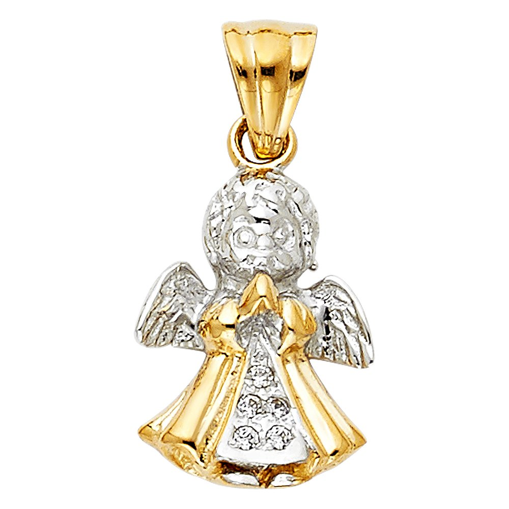 Million Charms 14K Two-tone Gold with White CZ Accented Angel Charm Pendant 16mm x 12mm