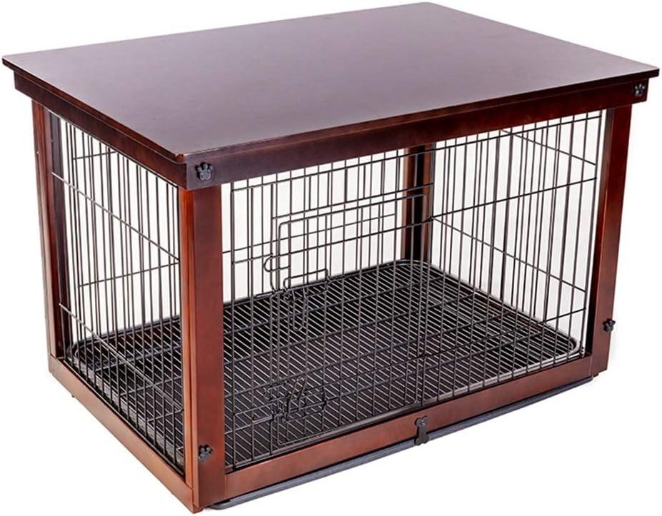 犬用ケージ屋内ペットフェンス無垢材鉄中小犬高級フェンス猫と犬用フェンスダブルデッカー屋外 (Color : 褐色, Size : 64*52*58CM) 褐色 64*52*58CM
