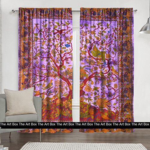 THE ART BOX Window Curtains Indian Window Drapes Set of 2 Tapestry Window Curtains Hanging Valances for Window Room Divider (Multi Elephant) (Purple Tree, Curtains Each Panel 84x27 - Sari Tapestry