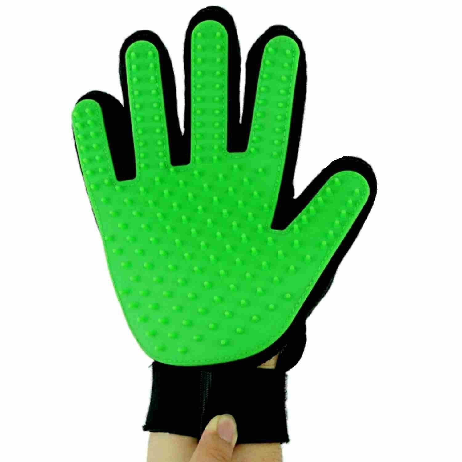 Blue D/&/&R Pet Grooming Glove 2-in-1 Dog Cat Grooming Massage Gloves Hair Remover Brush Rubber Tips for Long and Short Hair by Pack of 1