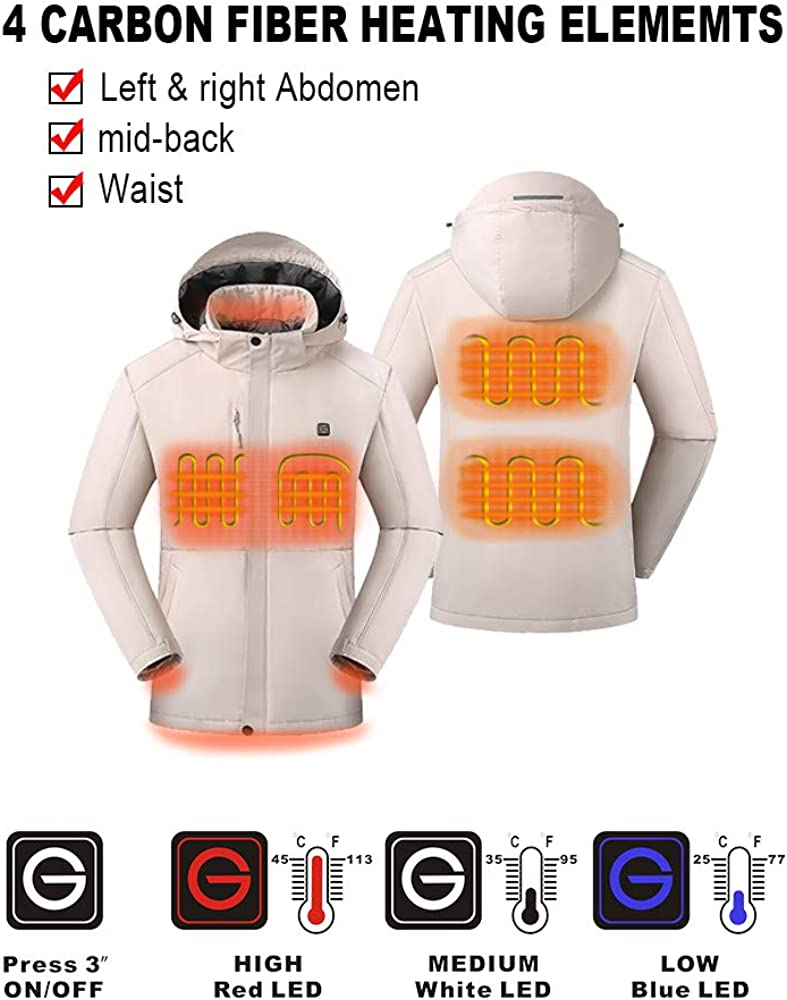 [2019 Upgrade] Men's Heated Jacket with Battery Pack, Heated Coat with Detachable Hood and Waterproof& Windproof: Clothing