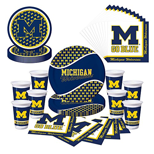 Michigan Wolverines U of M Party Bundle with Plates, Cups, Napkins - (Serves 8)]()