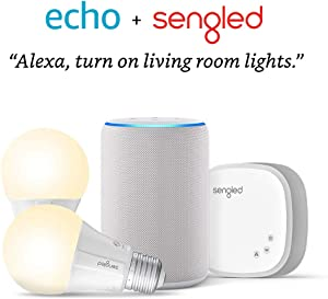 Echo (3rd Gen) Sandstone Bundle with Sengled 2-pack Smart Bulb starter kit