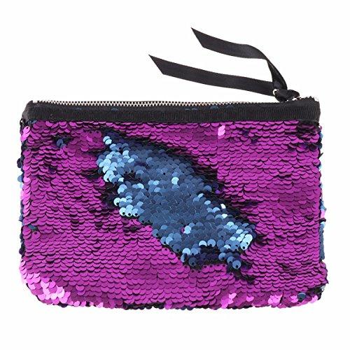 Maquillage Glissière À Pochette Tiaobug Paillettes Avec Multifonctions Sac amp; Violet Femme monnaie Trousse Main Brillant Bleu Porte Fermeture Yt6tFq