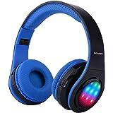 Ecandy Bluetooth para auriculares con 3 Modo Luz Led estéreo de música plegable Sobre-oído sonido de alta fidelidad, construido en llamadas inalámbricas micrófono de manos libres para Iphone X 8 7 6S 6S, 6S Plus de Samsung, Android smartphone, tablet PC, MAC y Portátil(azul led)