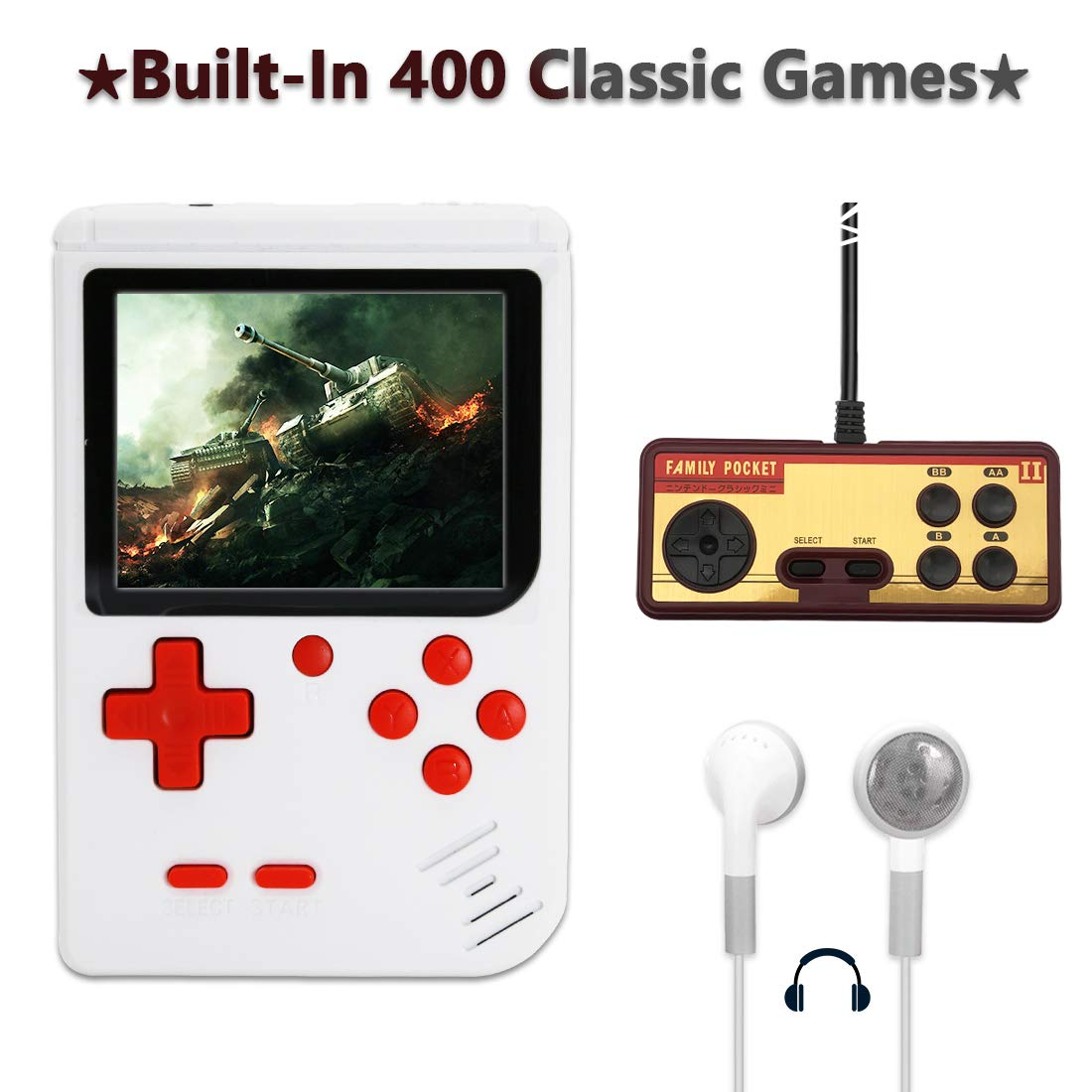 AKTOUGST Handheld Game Console, Retro Game Console 400 Classic Game FC System Video 3 Inch with Headphone Portable Mini Extra Joystick Controller Support TV 2 Player,Gift for Children Adult, (White)