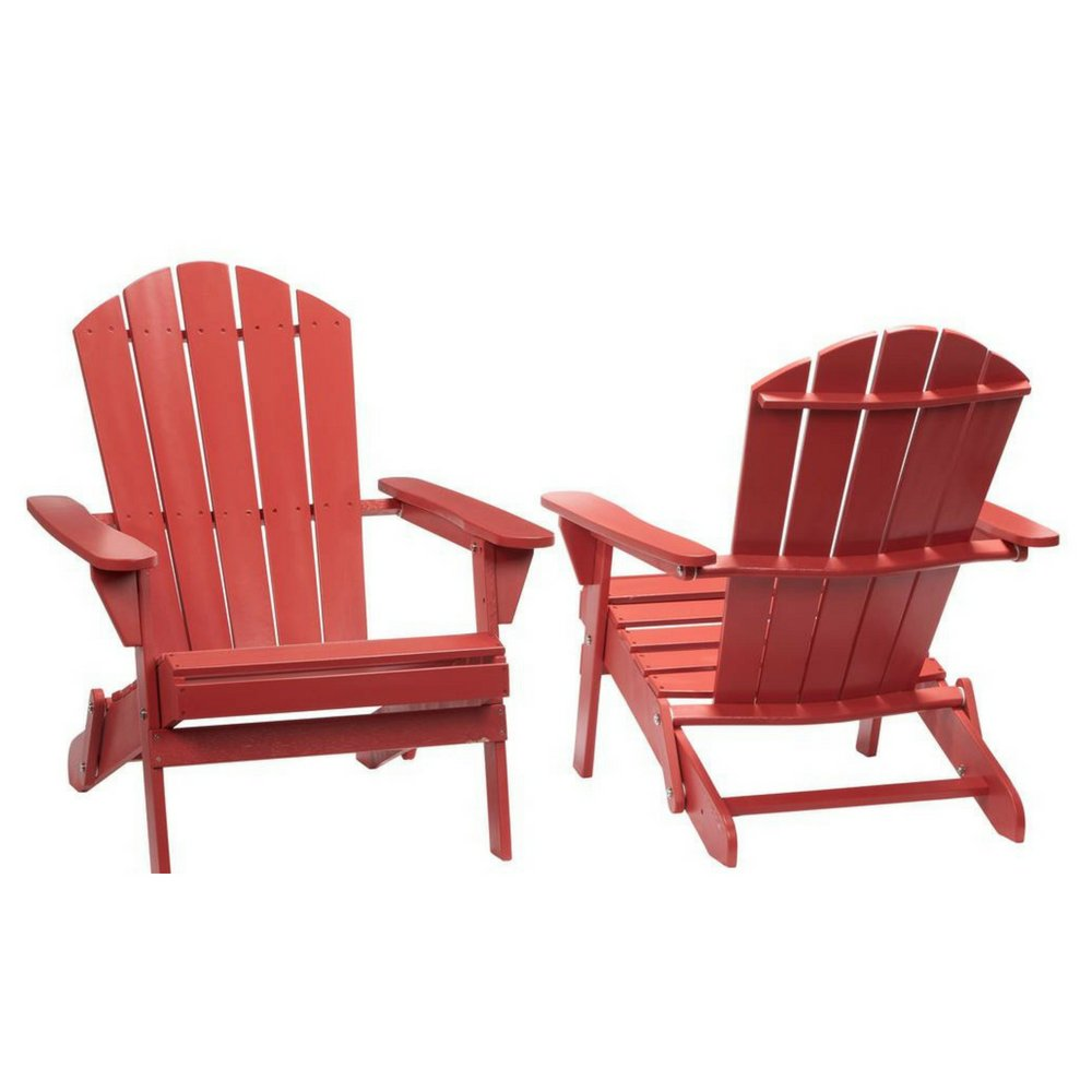 2-Pack Outdoor Folding Adirondack Chair, Hampton Bay, Adirondack Chair, Patio Chair, Wood Outdoor Furniture, Outdoor Chair, Patio Folding Chair (Choose Your Color) (Chili Red) by Hampton Bay Patio (Image #1)