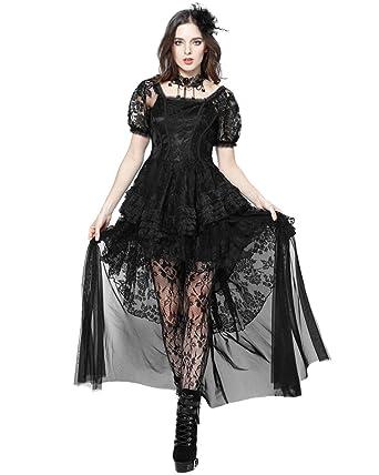 Dark in love Gótico Vestido De Noche Encaje Negro Vintage steampunker Victoriano Boda: Amazon.es: Ropa y accesorios
