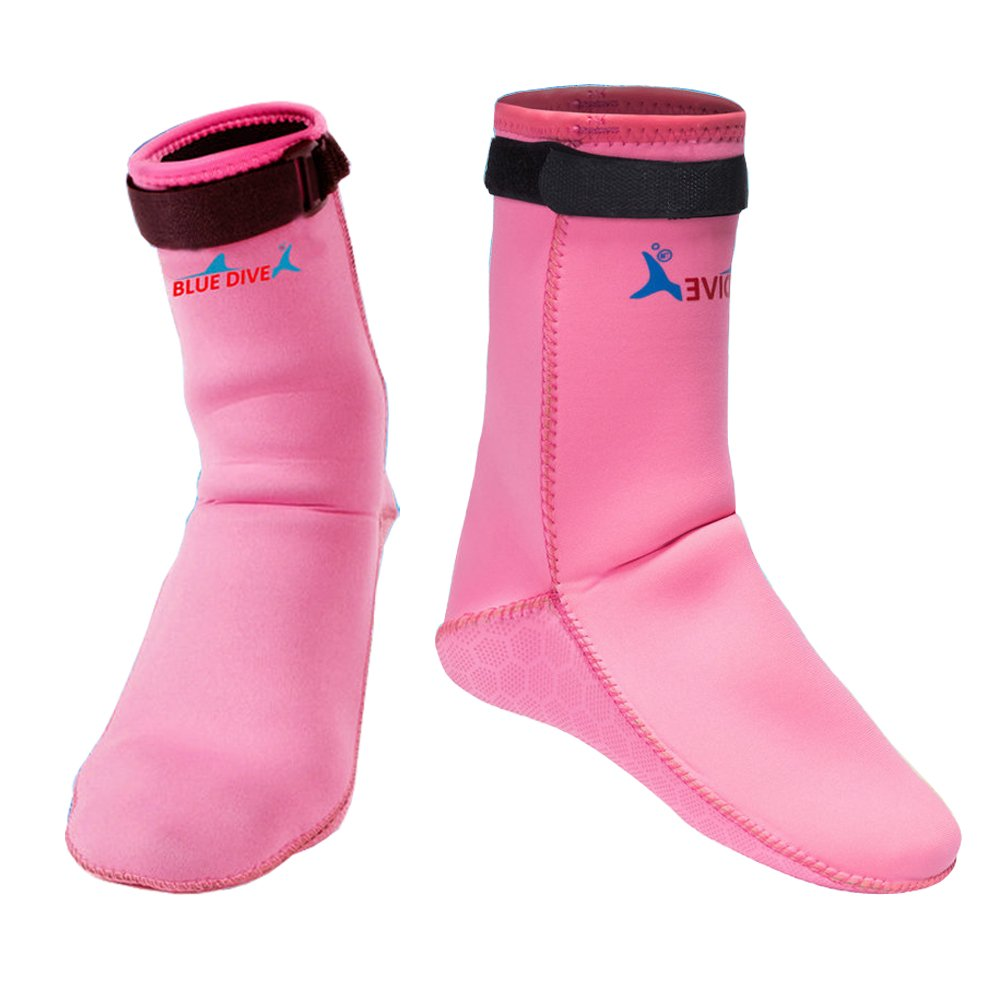 Water Shoes,Beach Socks Booties,Premium Men/Women/Girl 3mm Neoprene Boots Anti-Slip Diving Boot/Dive Boot/Snorkeling Socks Diver/Scuba Diving Shoes/Snorkel Boots/for Surfing,Water Sports (Pink, S)