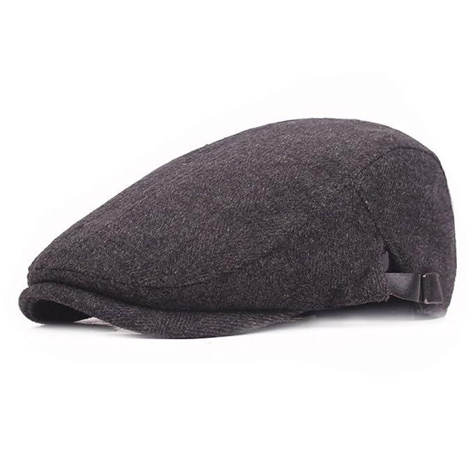 47b203efe99c7 Flat Cap Hat Men Women Cotton Ivy Gatsby Cabbie Hat Adjustable Newsboy Cap  Black