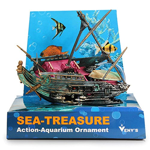 Resin Pirate Ship Model 0-56 Aquarium Decoration Half Shipwrecks Ornament For Fish - Movie Full Glue