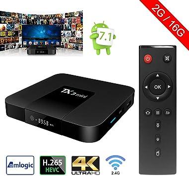 Sawpy Tanix Smart tv box Android 7.1 Amlogic 2GB+16GB 4K UHD WiFi & LAN VP9 DLNA H.265: Amazon.es: Electrónica