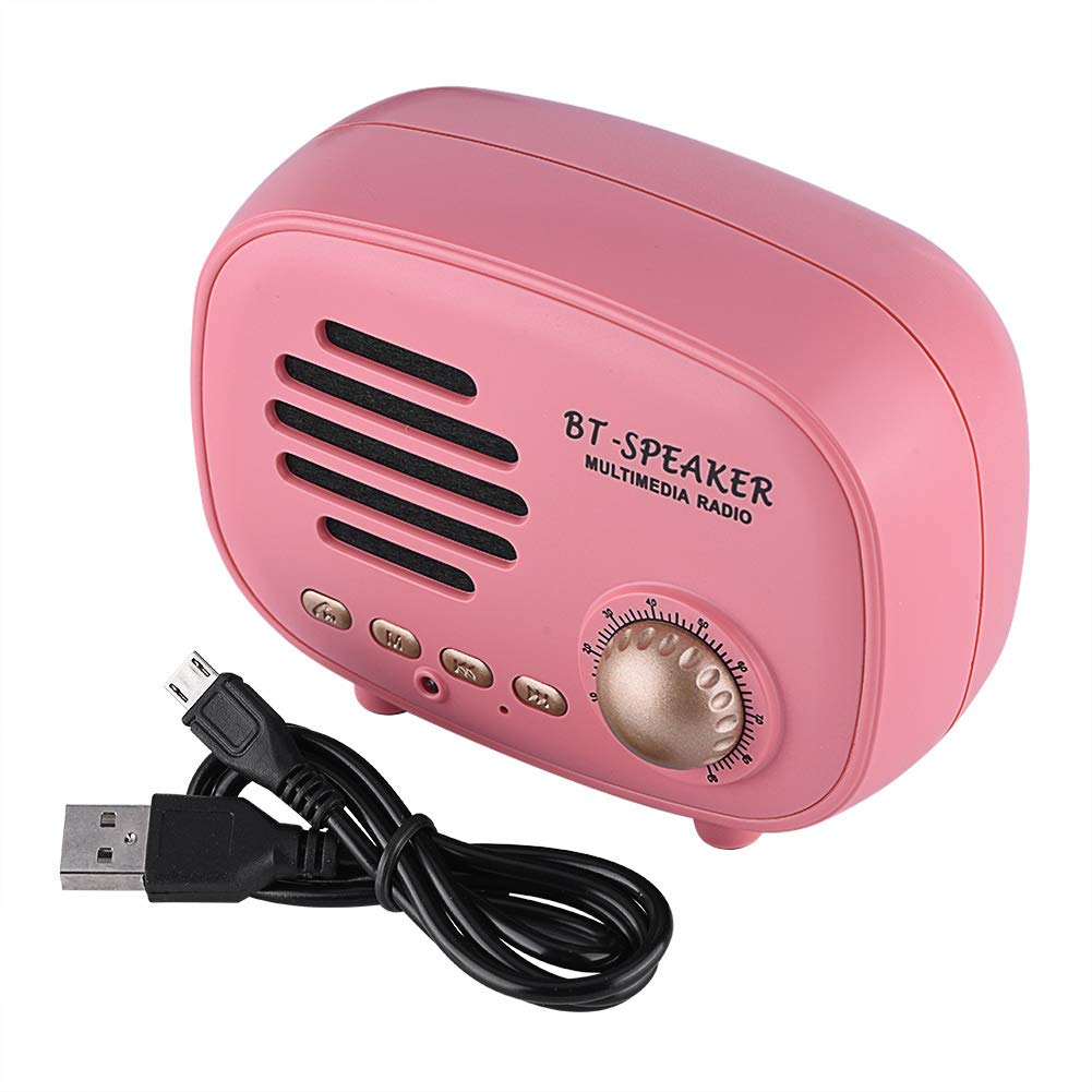 fosa Classic Wireless Bluetooth Speaker, Retro Portable Desktop Speaker Bass Stereo with FM Radio Support TF Card or U Disk Card for Travel, Home, Beach, Bathroom, Outdoors(Pink)