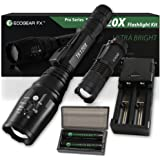 Complete LED Tactical Flashlight Kit – EcoGear FX TK120X – 5 Light Modes, High 1600 Lumen Output, Adjustable Zoom – Water Resistant, for Camping and Outdoors – Batteries and Charger Included