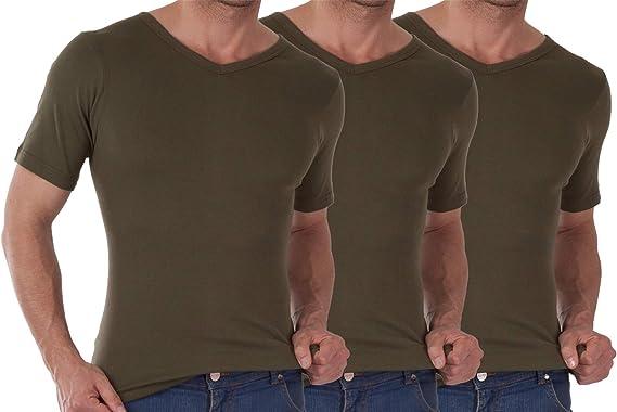 celodoro - Pack de 3 Camisetas para Hombre - con Cuello de Pico ...