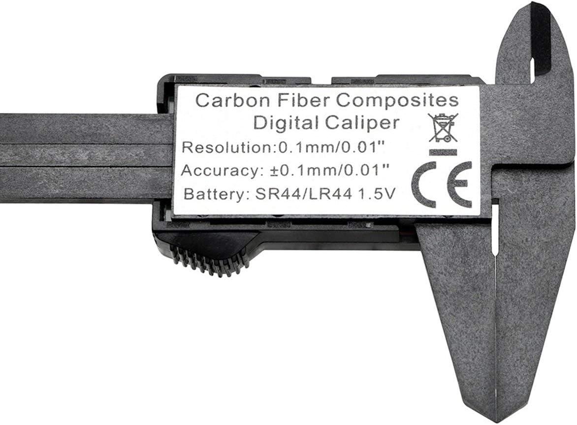 Lorenlli 150 mm 6 Pulgadas LCD Digital electr/ónica de Fibra de Carbono Vernier calibrador calibrador micr/ómetro Herramienta de medici/ón Negro