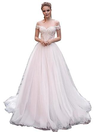 b24c9549de4 Dressvip Glamour et Chic Robe de Mariée pour Mariage Boule Longue 2018  Manche Courte Col Rond