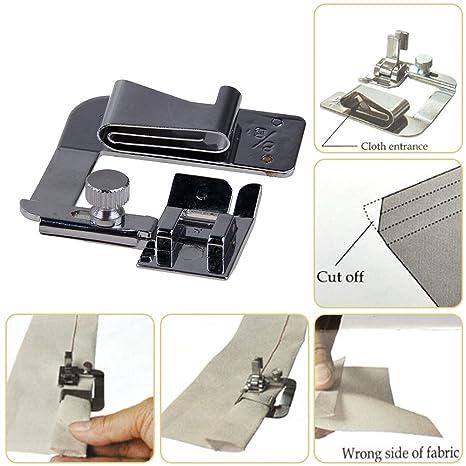 ultimafio (TM) 3pcs Domestic tira de gamuza de dobladillo prensatelas para máquina de coser piezas Hemmer dobladillo pie pie para Singer Brother: Amazon.es: Hogar