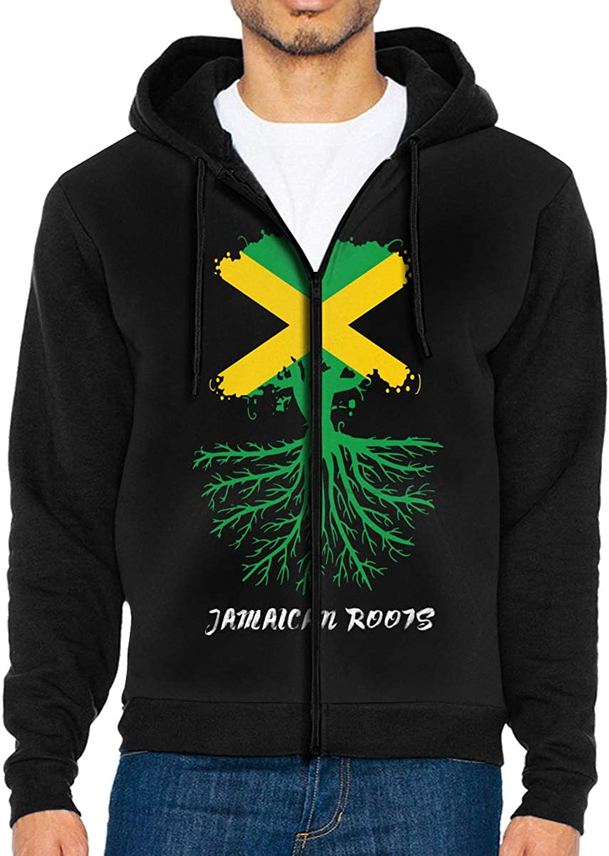 LD6DBGK Jamaican Roots Mens Zip Front Fleece Hoodie Outwear