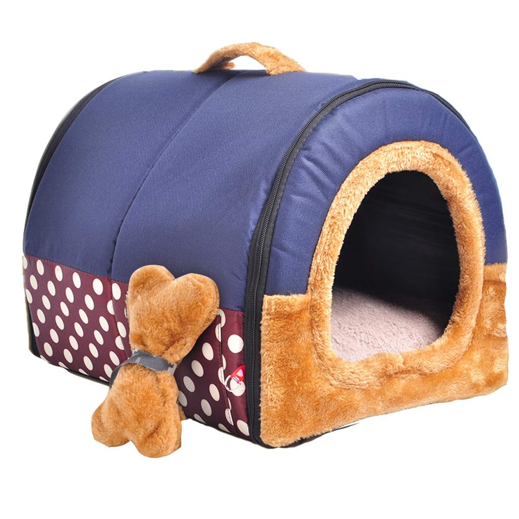 A SmallB&F Kennel, 2 In 1 Dog House Washable Small Dog Puppies Kennel Warm Cat Caves Cat Litter Four Seasons Universal (color   C, Size   M)