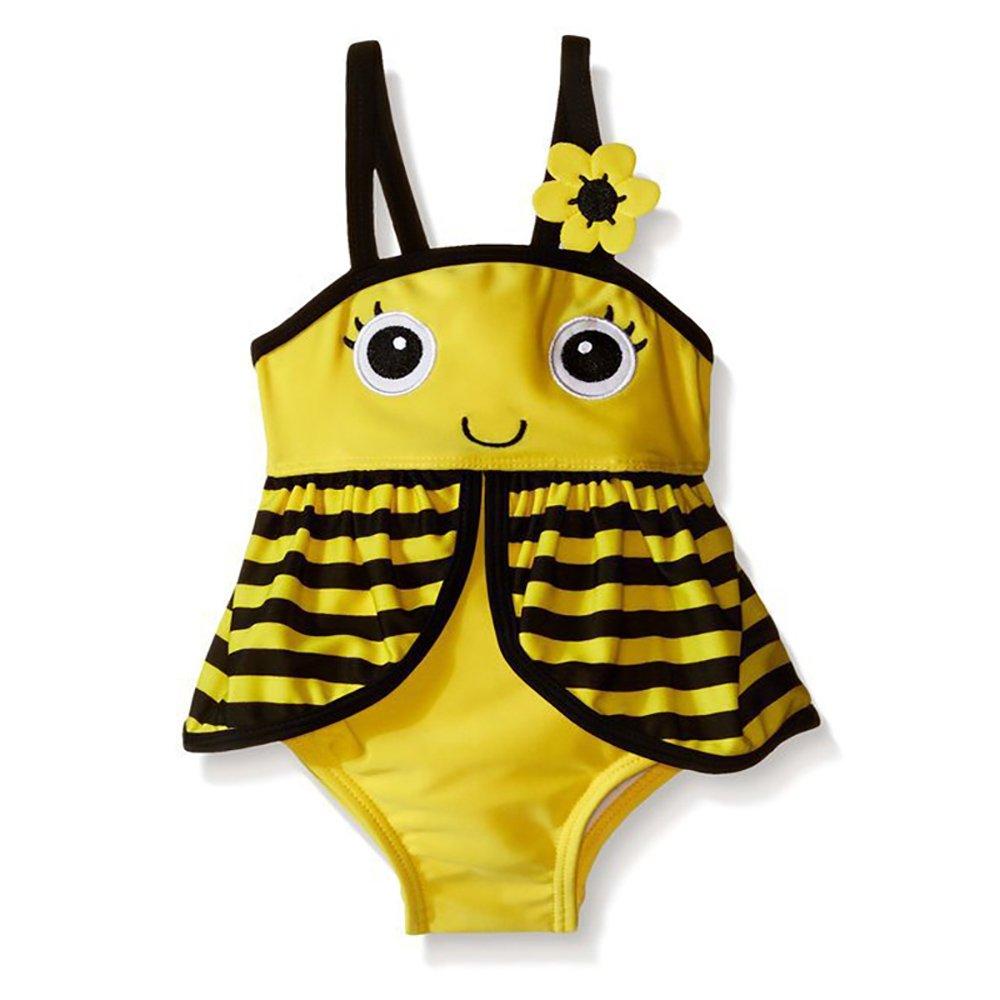 YYA Little Girls Baby Girls One-Piece Swimsuit Cute Bee Skirt Swimsuit (5-6Years)