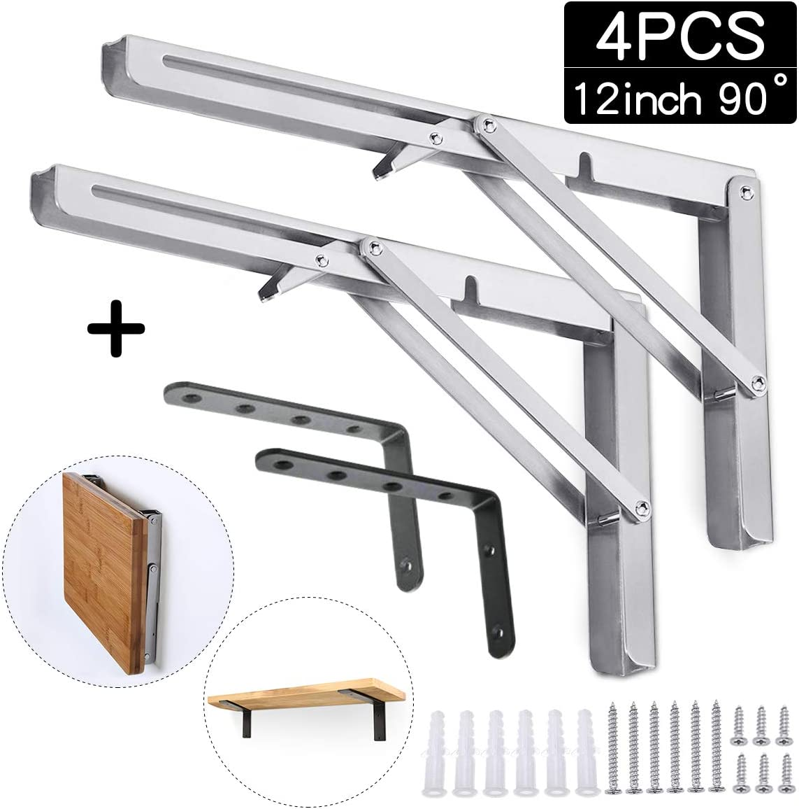 king do way Folding Shelf Brackets Stainless Steel Max Load 330lb with Black L Shaped Bracket for Table Work Bench, Space Saving DIY Bracket
