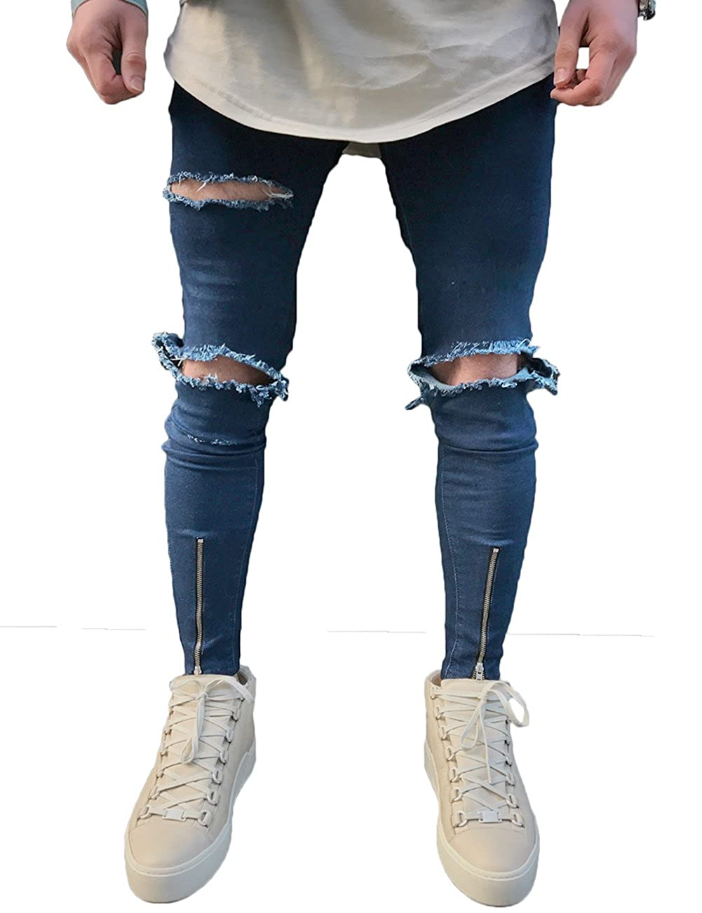 Men's Ripped Slim Fit Jeans Denim Pants with Broken Holes