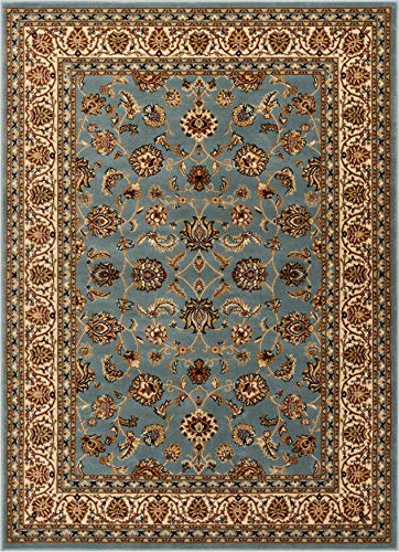 Well Woven Barclay Sarouk Light Blue Traditional Area Rug 6'7'' X 9'6'' (Rugs Blue Traditional)