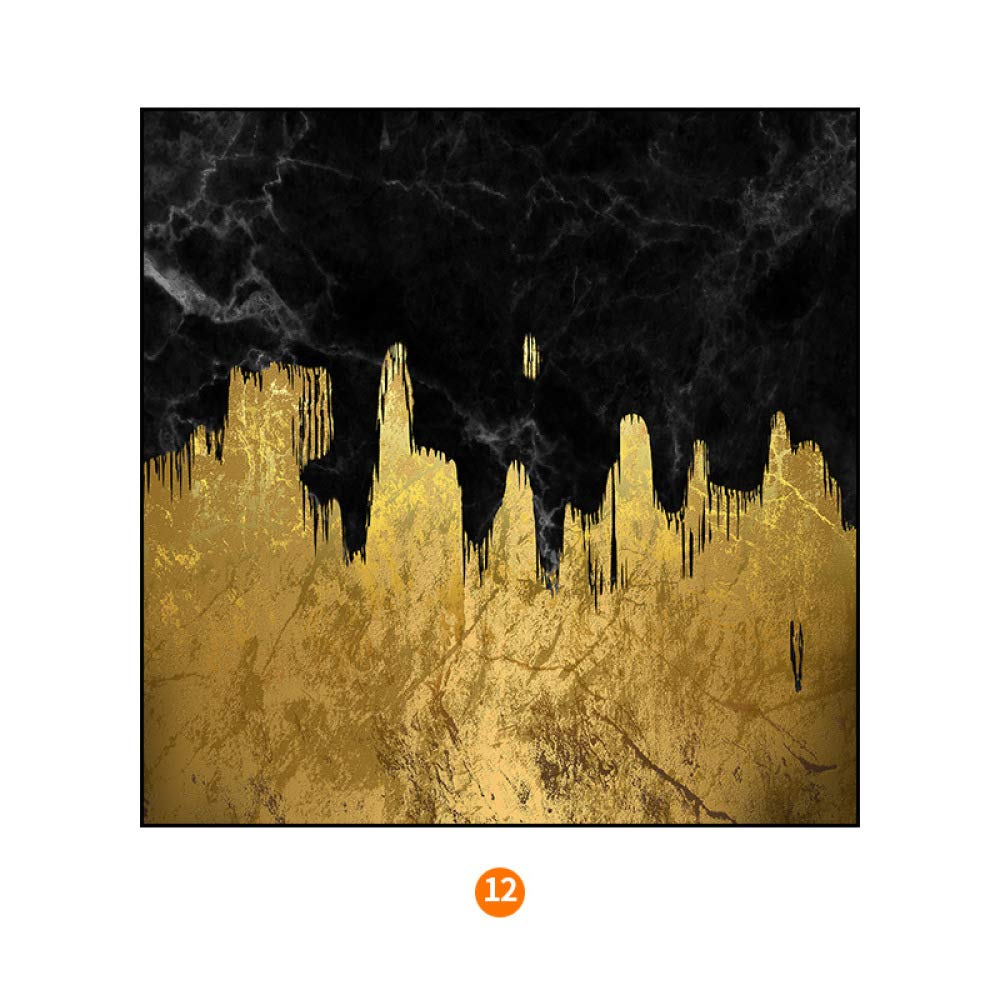 STTS Modern geometric abstract Nordic decorative painting, gold foil series living room wall painting, bedroom bedside painting,J,4040cm by STTS