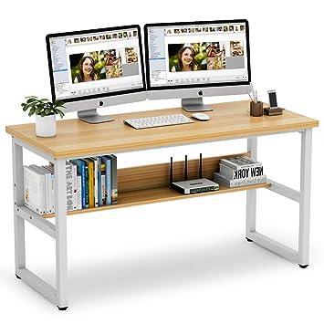 Tribesigns Escritorio de ordenador con estantería, 55