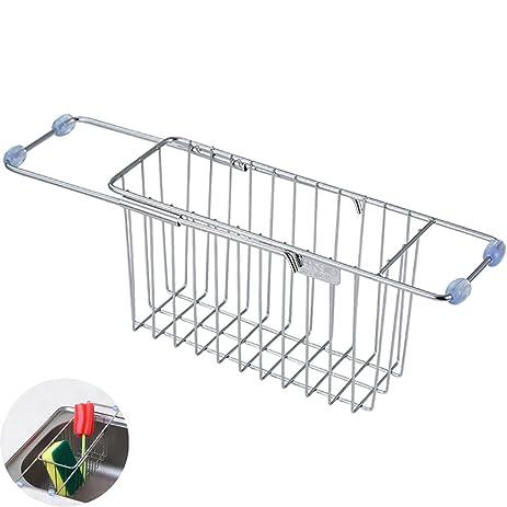 Kitchen Sink Caddy,Yoheox Adjustable Stainless Steel Kitchen Sponge Holder  Dish Rack Drainer Soap Scrubber