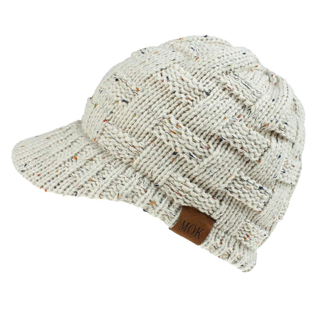 Sonnena Womens Knit Visor Beanie Newsboy Cap Winter Warm Hat for Cold Snow Weather