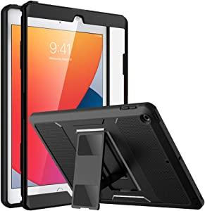 MoKo Case Fit New iPad 8th Generation, iPad 7th Generation Case, iPad 10.2 2020/2019, [Heavy Duty] Shockproof Full Body Rugged Protective Cover with Built-in Screen Protector for iPad 10.2 inch, Black