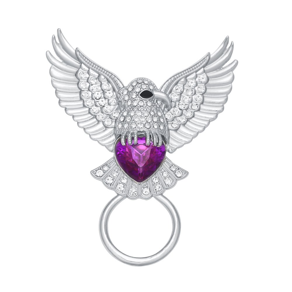 PANGRUI Exquisite Color Diamond Eagle Brooch Personality Magnetic Eyeglass Holder (Silver)