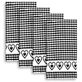 Cackleberry Home Joyful Hearts Terrycloth Kitchen Towels 100% Cotton, Set of 4 (Black)