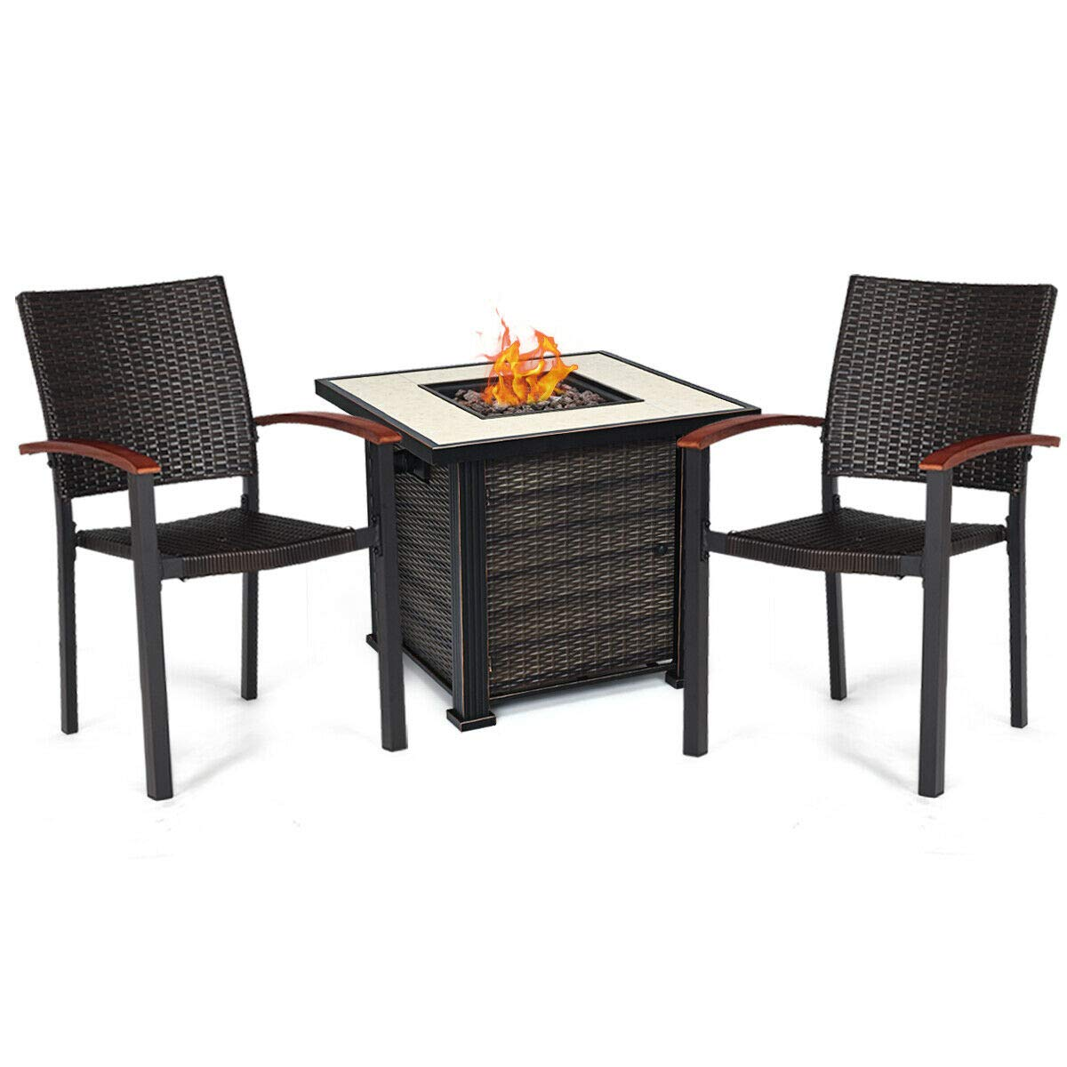 Tangkula 50,000 BTUs Square Propane Gas Fire Pit Table Set, 3 PCS Heater Outdoor Table with 2 Rattan Chairs by Tangkula