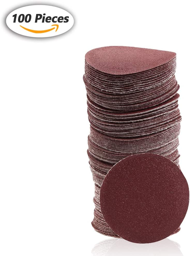SPEEDWOX 100pcs Sanding Discs 2 inch Sandpaper 40 Grit Hook and Loop Sanding Discs for Drill Grinder Rotary Tools No Hole