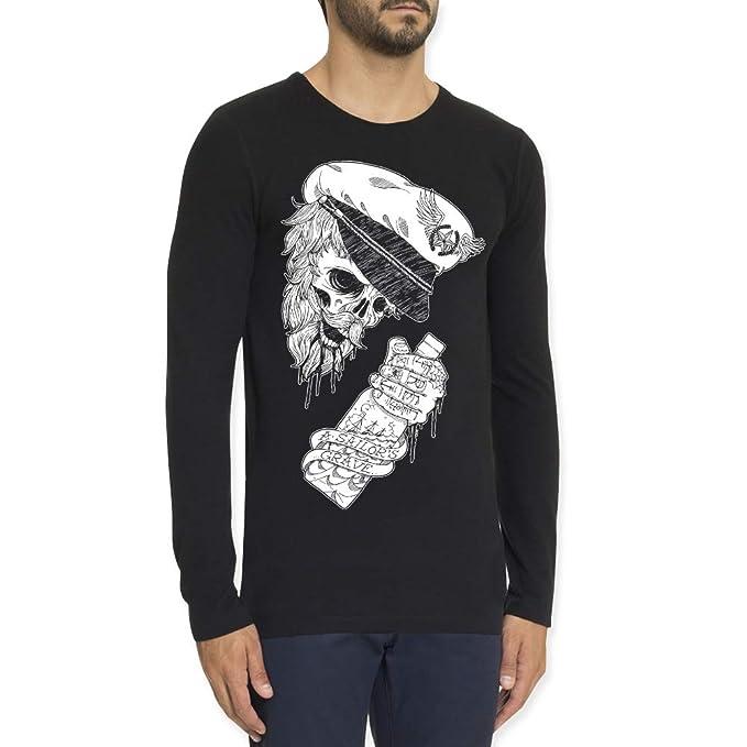VIENTO Drunk Skull Herren T-Shirt Mit Langen Ärmeln  Amazon.de  Bekleidung 9c4540ef30