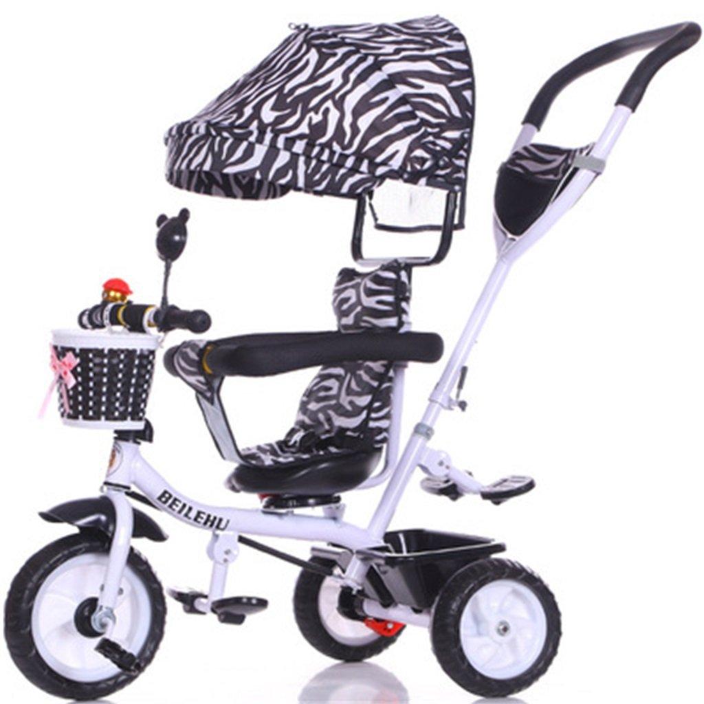 4-in-1 Kinder Dreirad Paw Patrol, Multifunktions Trolley Fahrrad Kinder Push Trikes für Baby 3 Rad Fahrrad mit Anti-UV Markise (Weiß Bike + Schwarz und Weiß Stripes Markise) (Farbe   A)