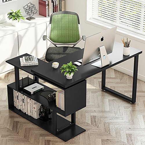 "(Tribesigns Modern L-Shaped Desk, 55"" Rotating Desk Corner Computer Office Desk Study Writing Table Workstation with Shelves for Home Office, Black)"