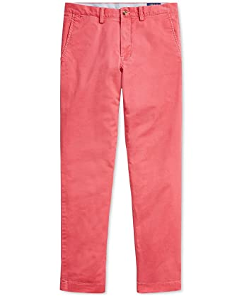 innovative design more photos temperament shoes RALPH LAUREN Polo Men's Stretch Straight Fit Flat Front Chino Pants  (Nantucket Red, 32x32)