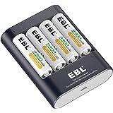 EBL 40min iQuick Pile de Chargeur Rapide avec 4 Piles Rechargeables AA 2300mAh …