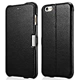iPhone 6s Plus / 6 Plus Case, Benuo [Litchi Pattern Series] Folio Flip Genuine Leather Case [Stand Function] [Card Holder] with Magnetic Closure for Apple iPhone 6 Plus / iPhone 6s Plus 5.5 inch (Black)