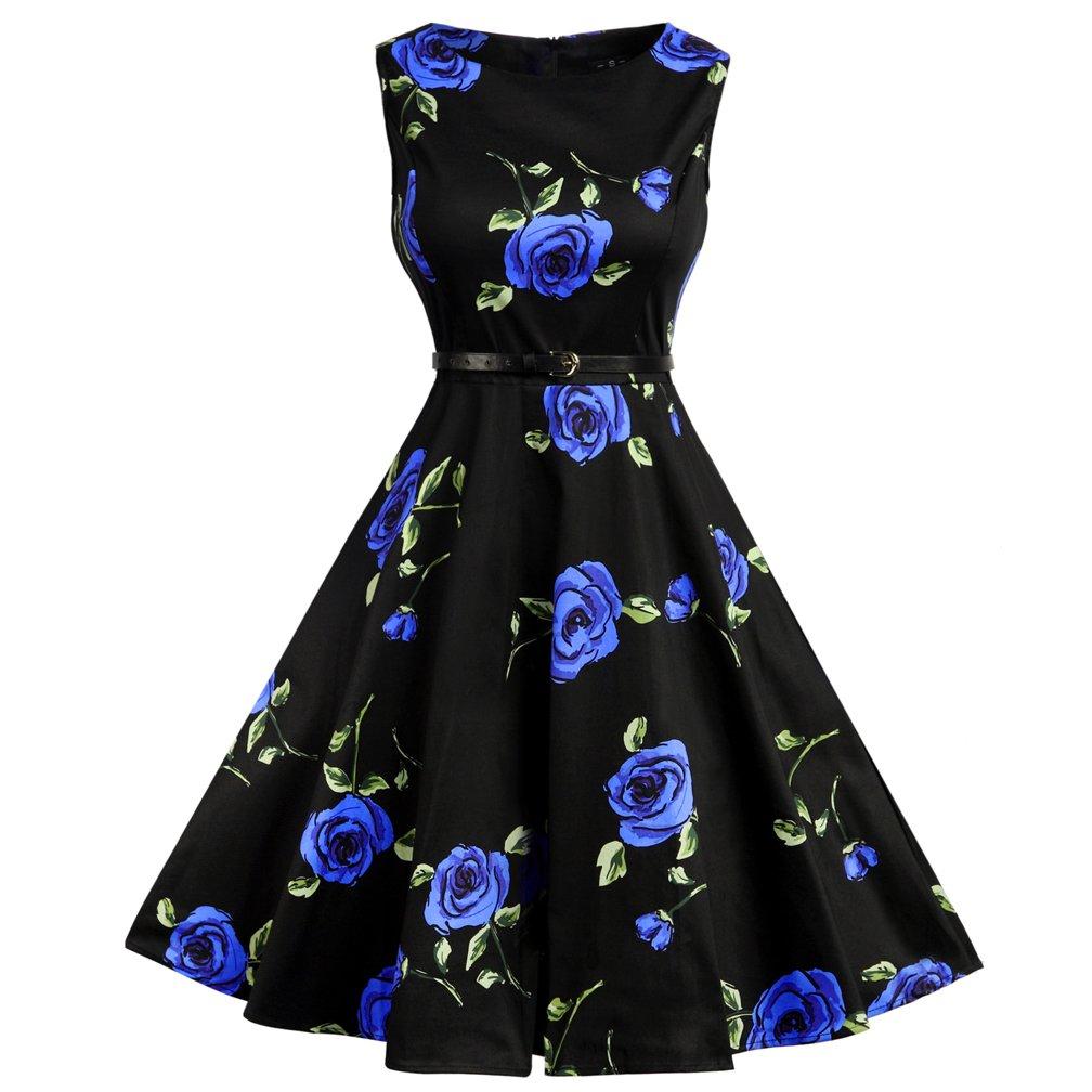 Lmp LINKFLY 1950's Elegant Dress Vintage Party Tea Dress Belt Printed Dresses for Women