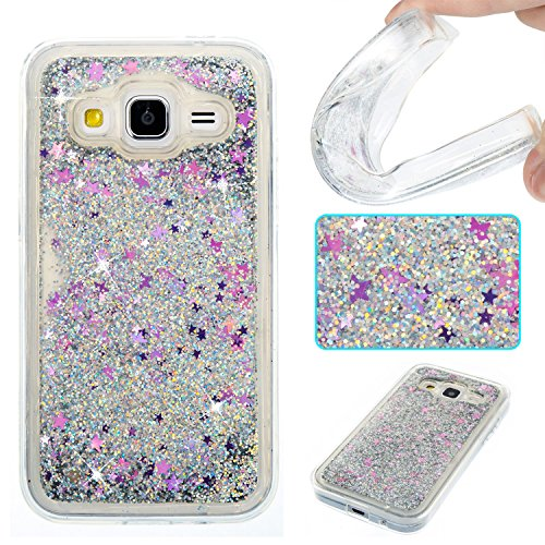 Galaxy J3 Case,Galaxy Sky, Express Prime Case,DAMONDY 3D Cute Bling Liquid Glitter Floating Quicksand Diamond Water Flowing Ultra Clear Soft TPU Case for Samsung Galaxy J3/J3 V ONLY -Purple Star