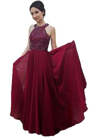 85a44d518b9 Dresshine Damen Rundhalsausschnitt Perlen Mieder Chiffon Prom Kleid  Homecoming Kleid  Amazon.de  Bekleidung