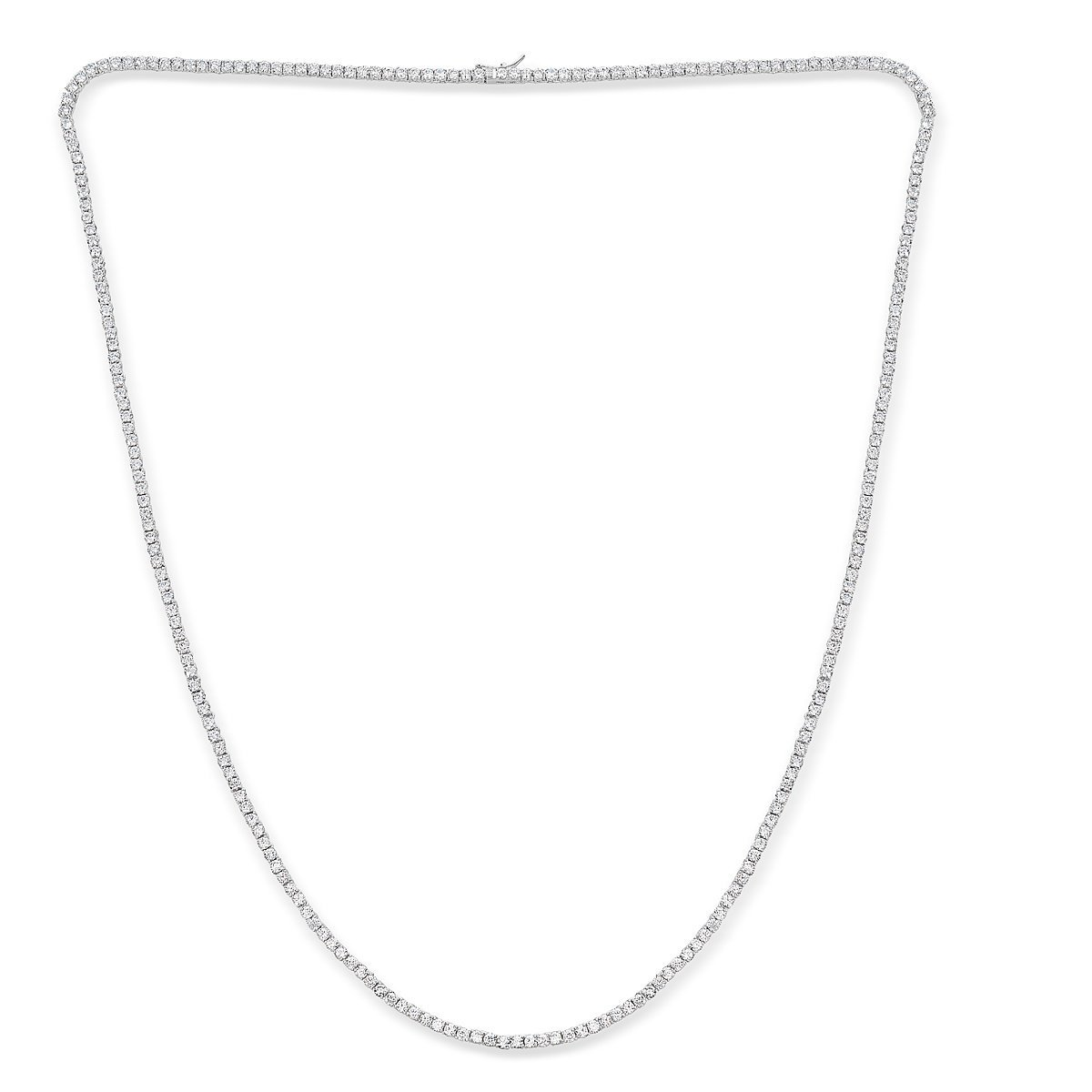 Platinum Plated Sterling Silver Cubic Zirconia Tennis Necklace by Caratina